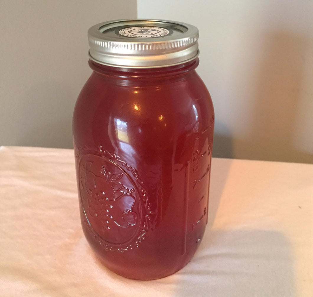 Quart Mason Jar of Raw, Natural Honey (~3.0 lbs)