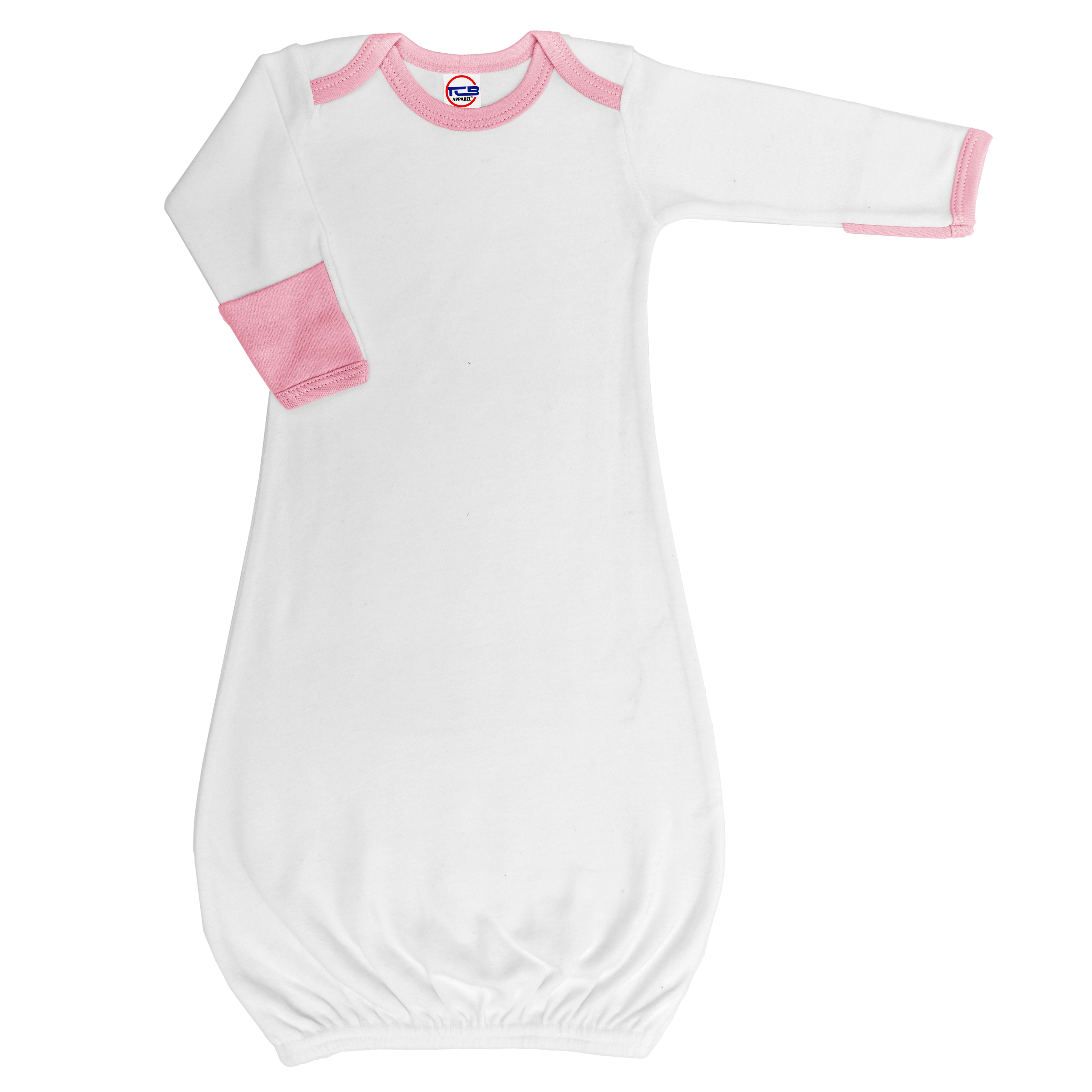 2885P   Baby Ringer Gown w/ Fold Over Mittens - White/Pink   Cutie ...