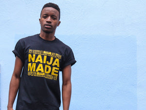 NAIJA MADE Original black tee w/ gold print