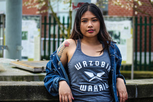 WAZOBIA WARRIOR Original women's tank heather charcoal w/ white print