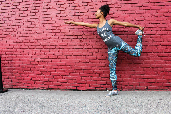 The GODDESS Original leggings w/ blue and gold Adire print