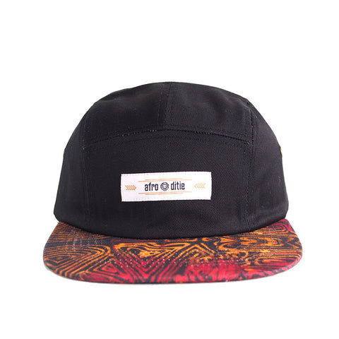 THE RAY Original 5-panel hat w/ red and gold Adire print lid