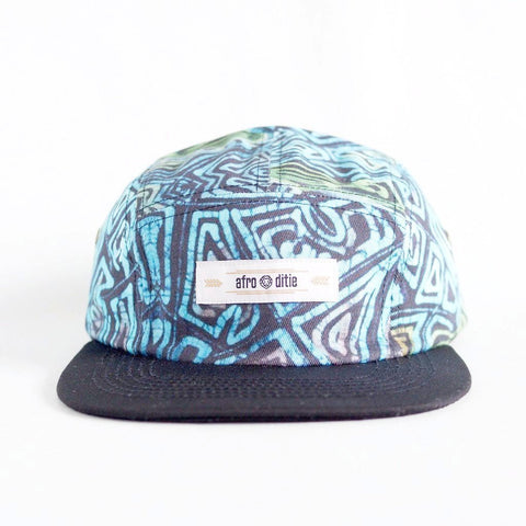 THE TAZ Original 5-panel hat w/ blue and gold Adire print crown