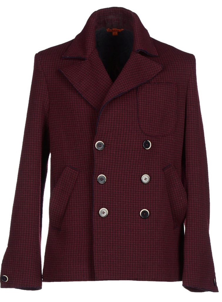 Barena Venezia - Burgundy Plaid Wool Peacoat - PEURIST