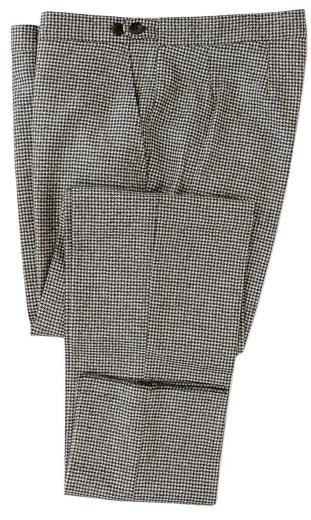 Equipage - Gray Houndstooth Wool Flannel Pants - PEURIST