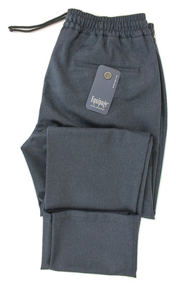 Equpage - Navy Heathered Wool Drawstring Pants - PEURIST