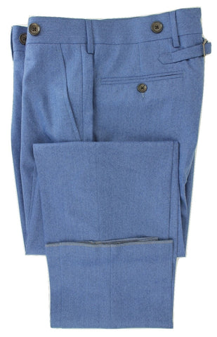 Andrea Incontri - Light Blue Light Flannel Wool Pants - PEURIST