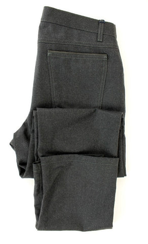Spiga - Dark Charcoal Five Pocket Wool Pants - PEURIST