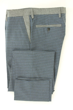 Equipage - Blue & Gray Plaid Cotton Pants - PEURIST