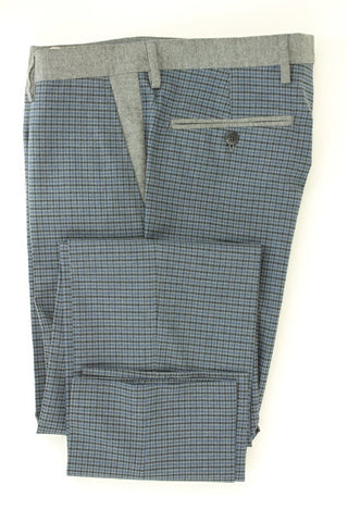 Equipage - Blue & Gray Plaid Cotton Pants