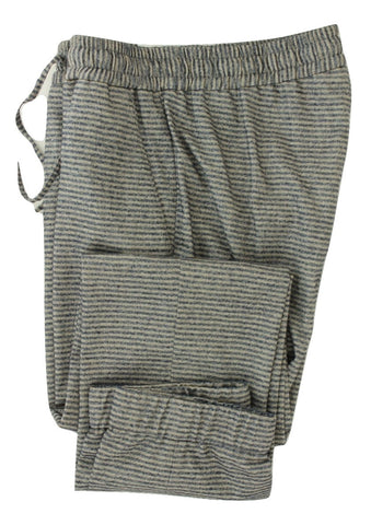 Equipage - Blue & Gray Striped Wool Flannel Pants w/Stretch - PEURIST
