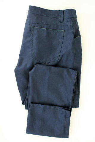 Equipage - Navy Cotton/Wool Blend Five-Pocket Pants - PEURIST