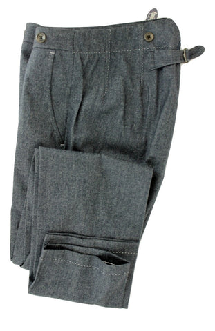 Equipage - Dark Blue Wool Flannel Pants w/Rear Adjuster - PEURIST