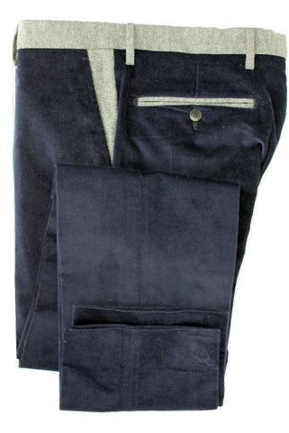 Equipage - Navy Cotton/Cashmere Corduroys w/Gray Contrast - PEURIST