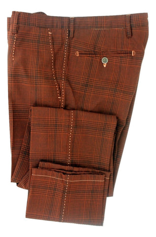 Equipage - Burnt Sienna Plaid Wool Pants - PEURIST