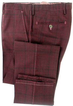 Equipage - Burgundy Plaid Wool Pants - PEURIST