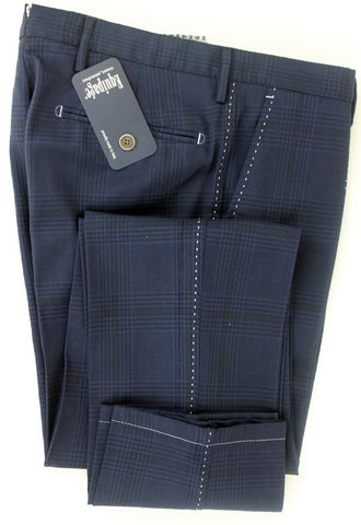 Equipage - Navy Plaid Wool Pants - PEURIST