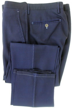 Equipage - Navy Textured Wool Crepe Pants - PEURIST