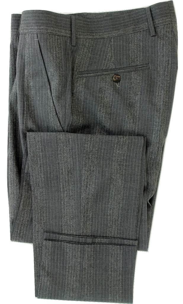Equipage - Variegated Gray Pinstripe Wool Flannel Pants - PEURIST
