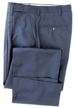 Equipage - Navy Four Season Wool Pants, Super 150s, Pleated