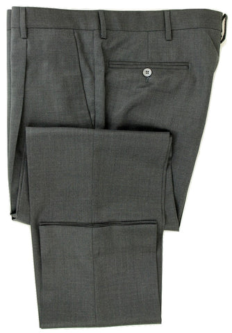 Equipage - Charcoal Wool Flannel Pants, Single Pleat - PEURIST