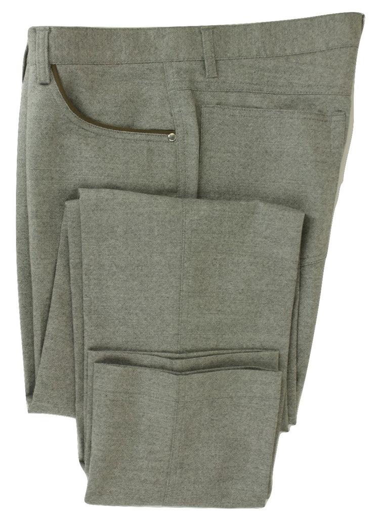 Equipage - Gray Herringbone Wool Flannel Pants - PEURIST