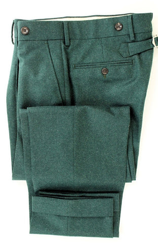 Equipage - Hunter Green Wool Flannel Pants - PEURIST
