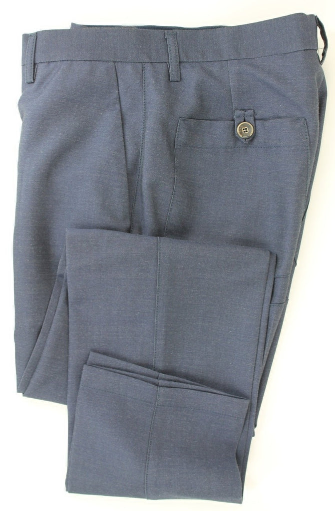 Equipage - Light Blue Light Flannel Wool Pants w/Welt Pockets - PEURIST