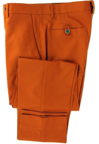 Equipage - Orange Wool Flannel Pants w/Welt Pockets - PEURIST