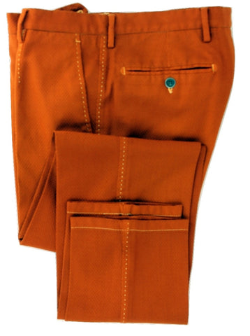 Equipage - Orange Textured Wool Pants - PEURIST
