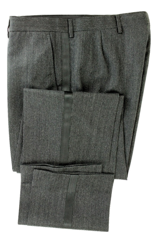 Equipage - Charcoal Pinstripe Wool Pants w/Tuxedo Stripe - PEURIST