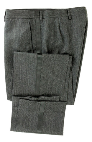 Equipage - Charcoal Pinstripe Wool Pants w/Tuxedo Stripe