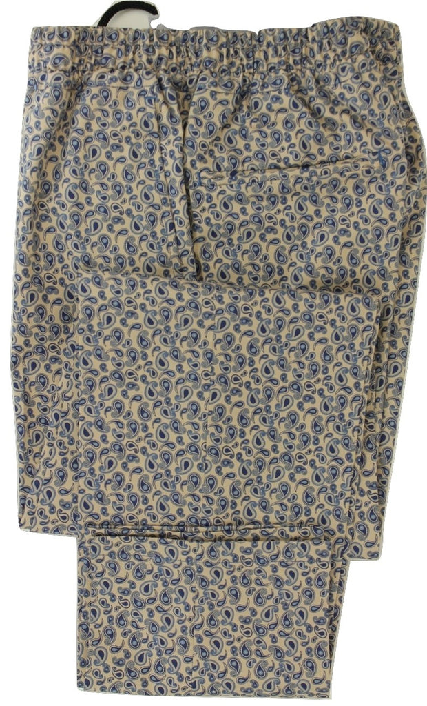 Equipage - Cream Cotton Pants w/Blue Paisley Pattern - PEURIST