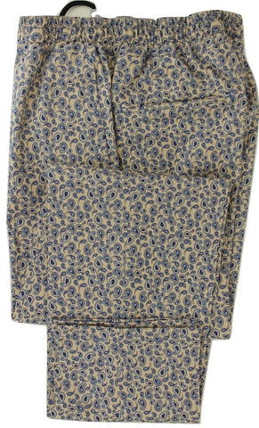Equipage - Cream Cotton Pants w/Blue Paisley Pattern