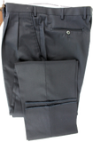 Made in Italy - Navy Four Season Wool Pants, Double-Pleat