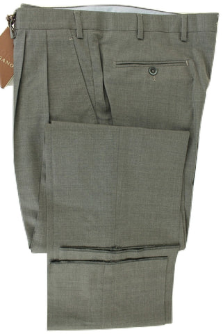 Vigano - Gray Four Season Wool Pants, Double-Pleat - PEURIST