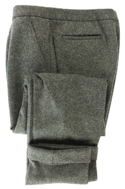 Vigano - Dark Charcoal Heavy Wool Flannel Drawstring Pants - PEURIST