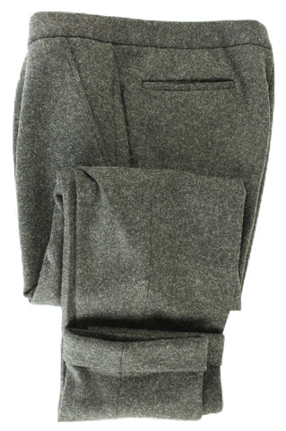 Made in Italy - Dark Charcoal Heavy Wool Flannel Drawstring Pants