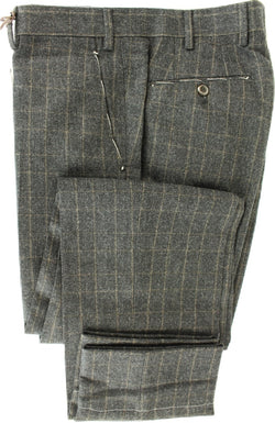 Made in Italy - Charcoal & Brown Prince of Wales Wool Flannel Pants