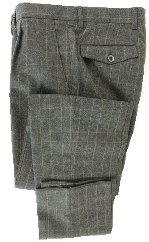 Vigano - Charcoal & Brown POW Wool Flannel Pants w/Pleat - PEURIST