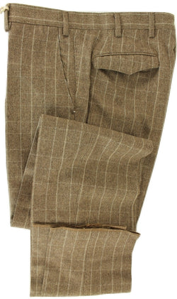 Vigano - Brown Prince of Wales Wool Flannel Pants - PEURIST