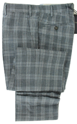 Vigano - Navy & Blue Plaid Linen & Wool Pants - PEURIST