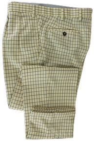Made in Italy - Cream Four Season Wool Pants w/Navy Check