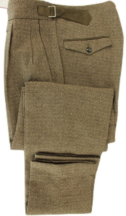 Made in Italy - Brown Wool/Cotton Tweed-Style Pants