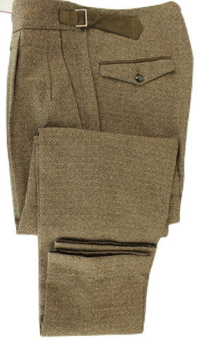 Vigano - Brown Wool/Cotton Tweed-Style Pants - PEURIST