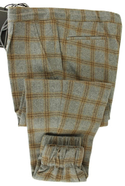 Made in Italy - Gray & Brown Plaid Flannel Wool Drawstring Pants w/Elastic Leg
