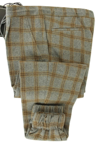 Vigano - Gray & Brown Plaid Flannel Wool Drawstring Pants w/Elastic Leg - PEURIST
