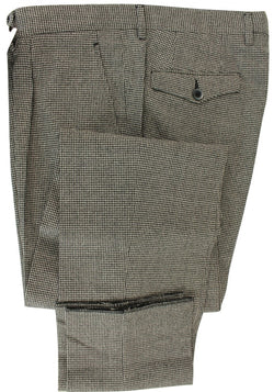 Made in Italy - Black & Gray Houndstooth Wool Flannel Pants, Pleated