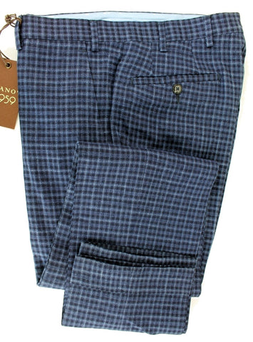 Vigano - Navy & Blue Plaid Wool & Linen Pants - PEURIST