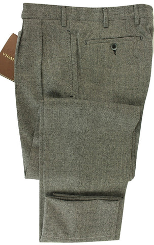 Vigano - Black & Gray Wool Flannel Birdseye Pants - PEURIST